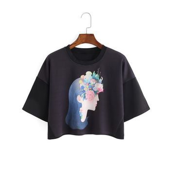 Women of the Earth Print Black Crop Top