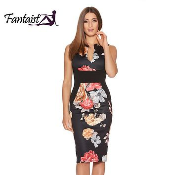 Women Summer Dresses Vintage Floral Print Cocktail Party Bodycon Pencil Dress Work Clothes