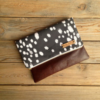 Modern Print clutch, leather clutch, leather fold over clutch, dot print clutch, charcoal grey and white dots,