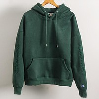 Champion New fashion embroidery letter hooded long sleeve sweater top Green