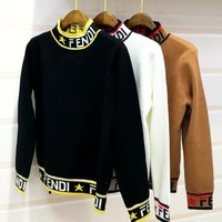 FENDI Hot Sale Fashion Women Casual Long Sleeve Half High Collar Knit Sweater Pullover Top Sweatshirt