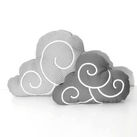Cloud Pillow Set (2)  - Nursery Decor - Kid Pillow -Light grey and white polka dot - Dark Grey