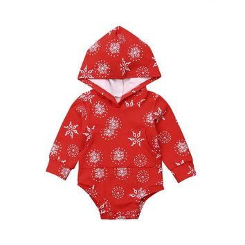 Infant Baby Boy Girl Bodysuit Autumn Long Sleeve Red Snow Outfit Snowflake Christmas Clothes Hooded Bodysuits Cotton Playsuit