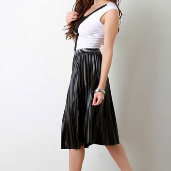 Vegan Leather Accordion Pleating Shimmer Stripes Skirt