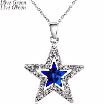 Austrian Crystal moon star sky pendant  Moon Necklaces