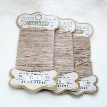 1930s darning thread vintage hosiery coats mending cotton otter brown