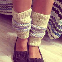 Natural Wool Leg Warmers - Boho Boot Socks - Organic Hipster Leg Warmers - Made To Order