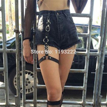 Fashion Street Punk Rock Handcrafted Leather Garter Belt Waist Thigh High Suspenders Straps for Shorts Jeans