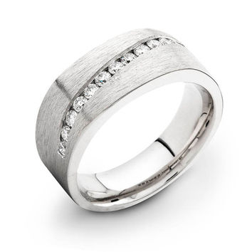 Mens 14kt white gold diamond wedding band 0.60 ctw G-VS2 quality