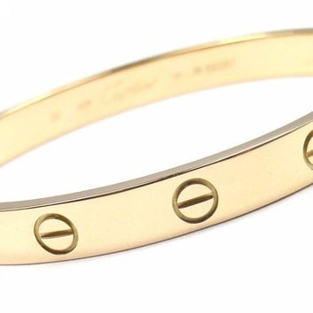 One-nice? Authentic! CARTIER 18k Yellow Gold Love Bangle Bracelet Size 16 Cert Box Dri