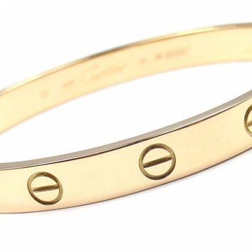 Authentic! CARTIER 18k Yellow Gold Love Bangle Bracelet Size 16 Cert Box Driver