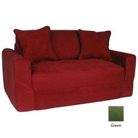 Fun Furnishings Micro Suede Sofa Sleeper w/ Pillows in Green