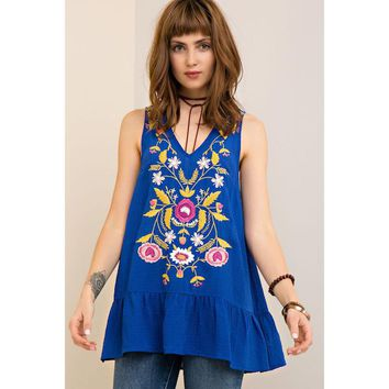 Royal Blue Sleeveless Embroidered Tunic