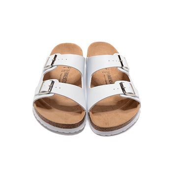 Birkenstock Summer Fashion Leather Cork Flats Beach Lovers Slippers Casual Sandals For