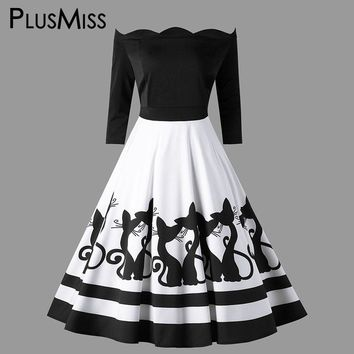 PlusMiss Plus Size 5XL Vintage Cat Printed Off The Shoulder Midi Dress Retro Sexy Party Dresses Women Clothing Big Size 2018
