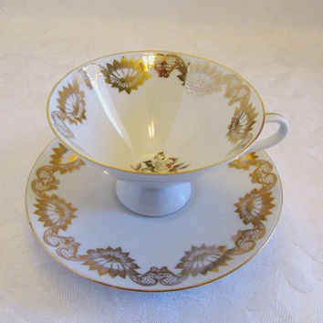 Bareuther Waldsassen Mid Century Modern Gold Geometric White Rose Tea Cup and Saucer Bavaria Germany