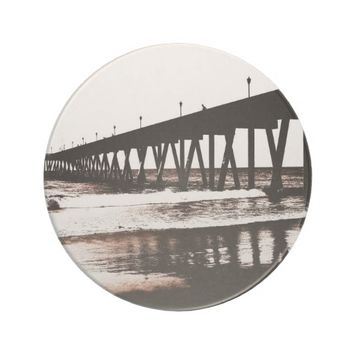 Pier and Waves in (mostly) Black and White Drink Coaster