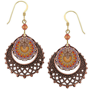 Lemon Tree Kaleidoscope Image with Lace Charm Earrings with Gold Filled Ear Wires
