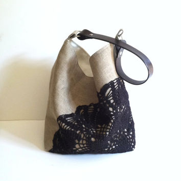 Black Hobo Bag Linen Burlap Vintage Doily  by JuneberryStitches