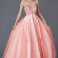 G2112 Coral Sheer Illusion High Neck Ballgown Prom Dress
