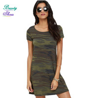 2016 Summer Dress Camouflage Printed Women Dress Short Sleeve O Neck Vestidos Loose Casual Dresses High Street
