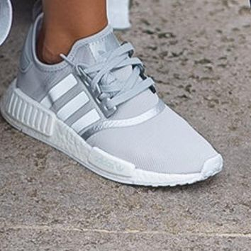adidas nmd r1 boost silver gray sneakers