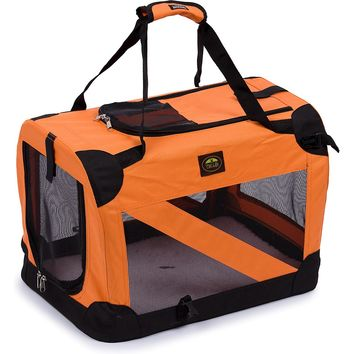 Folding Zippered 360 Vista View House Pet Crate - Orange: X-Small