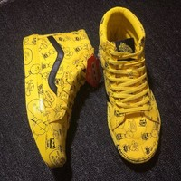 Vans Yellow Chrysanthemum Printing Canvas Skate Shoes