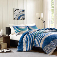 INK+IVY Connor  Cotton Yarn Dyed Duvet Mini Set, Blue