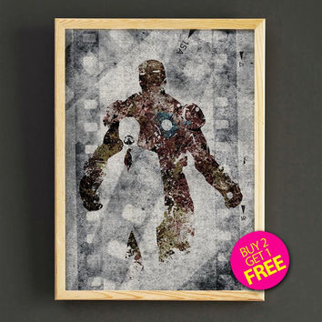 Iron Man poster, Print, black & white, superhero poster, Marvel, avenger print, Wall art, Comic poster, gift, Home Decor - 387s2g