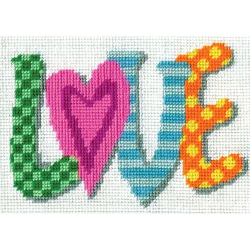 """Love Needlepoint Kit 7""""X5"""" Stitched In Yarn"""
