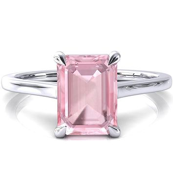 Lizzy Emerald Pink Sapphire 4 Claw Prong Cathedral Engagement Ring