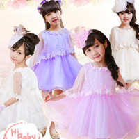 Dance Skirt Summer Dress Dance Skirt New Girls Summer Elegant Net Yarn and Three-dimensional Flowers Shawl Dress Kids Round Collar and Wais