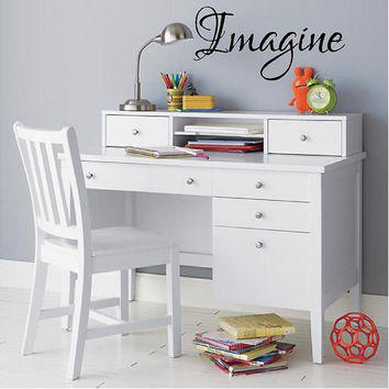Imagine-Elegant Script Wall Decal-10h x 21 wide Large Custom Vinyl Wall Decal art Lettering Graphic sticker Wall Mural