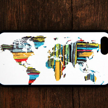 World Map iPhone and Samsung Galaxy Rubber Case