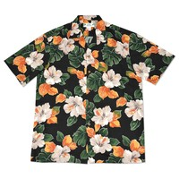 hoopla black hawaiian aloha rayon shirt