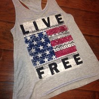 LIVE FREE- Native Gray tank w/razor back