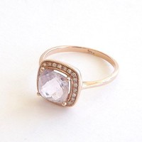 Pink Amethyst and Diamond Gold Engagement Ring