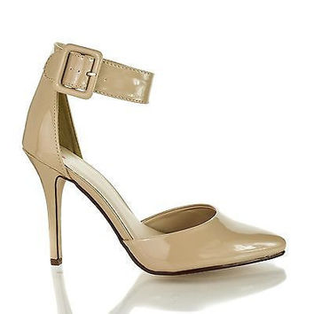 Aveta Beige Patent By Delicious, D'Orsay Pointed Toe Ankle Cuff Stiletto High Heel Pumps
