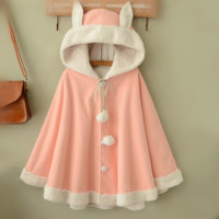 Cute rabbit ears hooded cloak cape coat