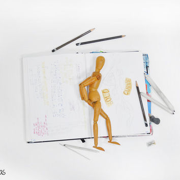 Vintage Drawing Model • Wooden Pose-able Artist's Manikin • Wooden Mannequin • Drawing Mannequin • Moveable Limbs Drawing Model