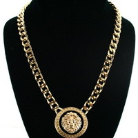 Versace Style Gold Lion Necklace Chain Jewelry H&M As Seen On Rihanna