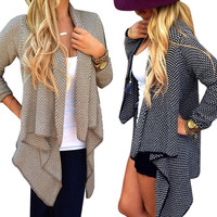 Hot Women Sweater Irregular Cardigan Jacket Small Dot Knit Coat 2 Color