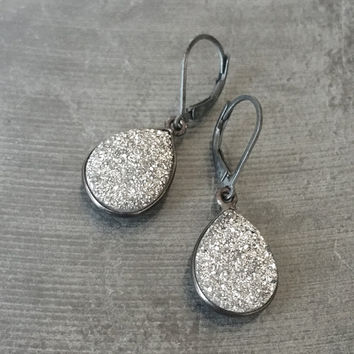 Druzy Earrings, Silver Druzy Earrings, Silver Druzy Tear Drop Earrings, Druzy Tear Drops, Silver Druzy, Tear Drop Druzy Earrings, Druzy