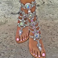 Plus Size Top Quality Luxury Style Rhinestone Bohemia Woman Sandals Fashion Glittering Summer Buckle Strap Lady Flat Shoes Hot