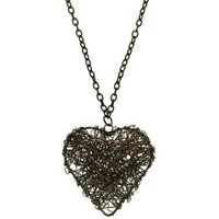 Wire Wrapped Heart Pendant Necklace, in Hematite