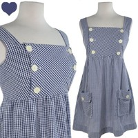 Vintage 80s Blue White GINGHAM Jumper Pinafore Dorothy Dress M L POCKETS Buttons