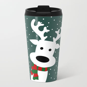 Reindeer in a snowy day (green) Metal Travel Mug by absentisdesigns