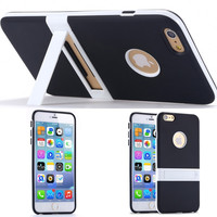 New Candy Color Kickstand Soft TPU Case For Apple iphone 6 6S 4.7/ 6S Plus Ultrathin Lovely Back Cover hole Logo Body Stand Case