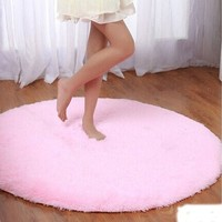 "Princess Dream Round Shaggy Area Rugs and Carpet Super Soft Bedroom Carpet with a Heart Rug,for Kids Play ,Round 47.2"" (Pink)"